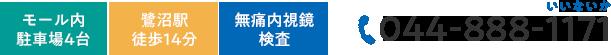モール内 駐車場4台 鷺沼駅徒歩14分 無痛内視鏡検査 TEL:044-888-1171
